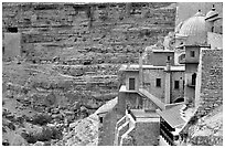 Greek Orthodox Mar Saba Monastery. West Bank, Occupied Territories (Israel) (black and white)