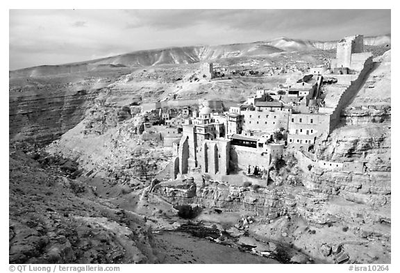 Mar Saba Monastery seen across the Kidron River. West Bank, Occupied Territories (Israel) (black and white)