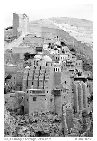 Fortified walls of the Mar Saba Monastery. West Bank, Occupied Territories (Israel) (black and white)
