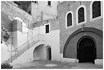 Courtyard inside the Mar Saba Monastery. West Bank, Occupied Territories (Israel) (black and white)