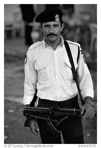 Palestinian Policeman, Jericho. West Bank, Occupied Territories (Israel) (black and white)