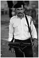 Palestinian Policeman, Jericho. West Bank, Occupied Territories (Israel) ( black and white)