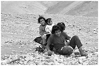 Bedouin children playing, Judean Desert. West Bank, Occupied Territories (Israel) (black and white)