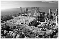 Ruins of the Nabatean Acropolis sitting on a hill, Avdat. Negev Desert, Israel ( black and white)