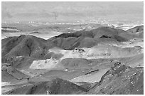Eroded badlands near Eilat. Negev Desert, Israel (black and white)