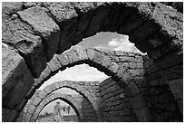 Ancient arches, Crusader City,  Caesarea. Israel ( black and white)