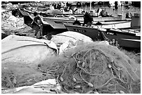 Fishing nets and boats, Akko (Acre). Israel (black and white)