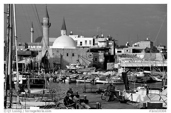 Port and Mosques, Akko (Acre). Israel (black and white)