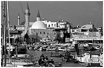 Port and Mosques, Akko (Acre). Israel ( black and white)