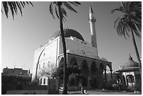 Mosque of El-Jazzar Pasha, Akko (Acre). Israel (black and white)