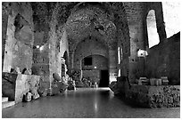 Subtaerranean Crusader City, Akko (Acre). Israel ( black and white)