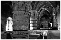 Huge columns in the Knights Hospitalliers quarters, Akko (Acre). Israel ( black and white)