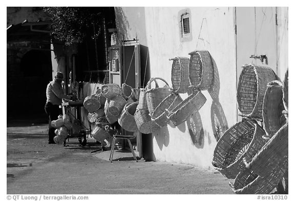 Hand-made baskets, Akko (Acre). Israel (black and white)