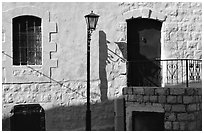 Blue door and windows, Synagogue Quarter, Safed (Tsfat). Israel (black and white)