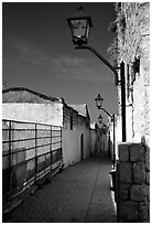 Alley with lanterns, Synagogue Quarter, Safed (Safad). Israel ( black and white)
