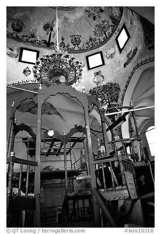 Synagogue interior, Safed (Tzfat). Israel (black and white)