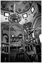 Synagogue interior, Safed (Tzfat). Israel ( black and white)