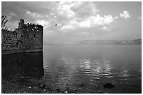 Old fort wall on the Sea of Gallilee. Israel (black and white)