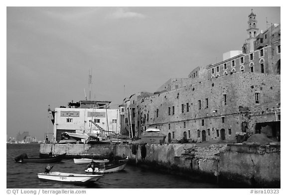 Waterfront along old city, Jaffa, Tel-Aviv. Israel (black and white)