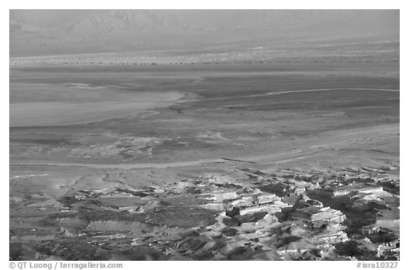 South End of the Dead Sea seen from Masada. Israel (black and white)