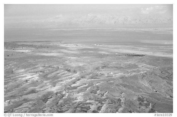 Dead Sea and Jordan seen from Masada. Israel (black and white)