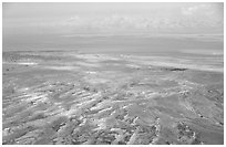 Dead Sea and Jordan seen from Masada. Israel ( black and white)