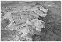 The site of the former Roman Camp, Masada. Israel (black and white)