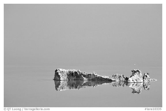 Salt formations reflected in the Dead Sea. Israel (black and white)