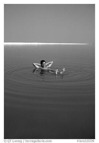 Flotting in the Dead Sea. Israel (black and white)