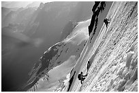 On the North face of Grande Casse, Vanoise, Alps, France. (black and white)