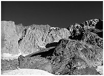 Alpinist approaching the Freney Pillars, Mont-Blanc, Italy. (black and white)
