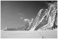 North faces of Les Droites and Les Courtes, seen from the Argentiere Glacier. Alps, France (black and white)