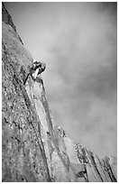 Paul leading on Bonatti Pilar on Le Dru, Mont-Blanc Range, Alps, France. (black and white)