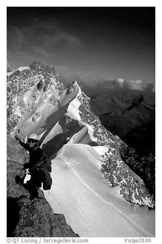 Climbing the South Face of Dent du Geant, Mont-Blanc Range, Alps, France.