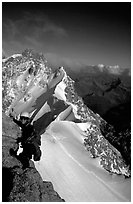 Climbing the South Face of Dent du Geant, Mont-Blanc Range, Alps, France. (black and white)