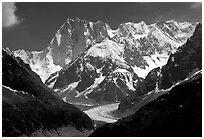 Grandes Jorasses and aretes de Rochefort seen from the Aiguilles Rouges, Alps, France. (black and white)