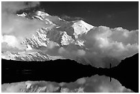 Hiker in the Aiguilles Rouges and Mont-Blanc range, Alps, France. (black and white)