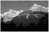 Aiguille des Glaciers at sunrise, Mont-Blanc range. (black and white)