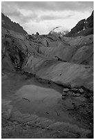 Glacial pool in Mer de Glace. Alps, France (black and white)