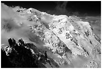 North Face of Mont-Blanc and Dome du Gouter. Alps, France (black and white)