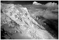 The Bossons glacier, the highest icefall in the Alps. Alps, France (black and white)