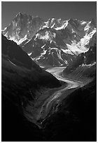 Mer de Glace, Grandes Jorasses, and Aretes de Rochefort. Alps, France (black and white)