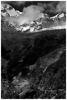 Looking up the Brenva Glacier,  Mont-Blanc range, Alps, Italy. (black and white)