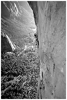 Valerio Folco at the belay, Tom McMillan cleaning the crux pitch. El Capitan, Yosemite, California (black and white)