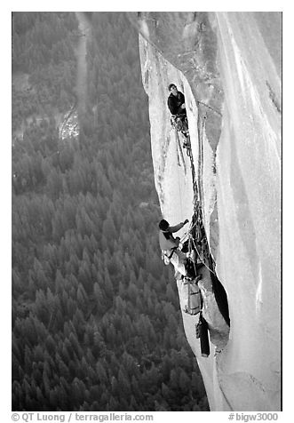 Tom McMillan leaves the belay on the last pitch. El Capitan, Yosemite, California