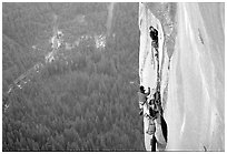 Tom McMillan leaves the belay on the last pitch. El Capitan, Yosemite, California (black and white)