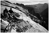 Valerio Folco and Tom McMillan with gear at the top of the wall. El Capitan, Yosemite, California (black and white)