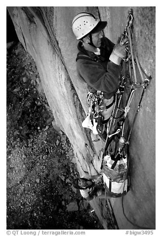 Traffic jam on the fixed pitches. El Capitan, Yosemite, California