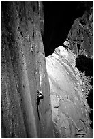 Ascending a fixed rope on  Mescalito, El Capitan. Yosemite, California (black and white)