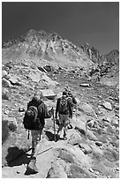 Hikers on trail, Dusy Basin. Kings Canyon National Park, California (black and white)